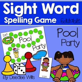 Sight Word Spelling Game ~ Pool Party ~ Editable 1