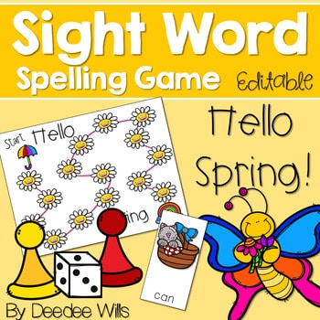 Sight Word Spelling Game ~ Spring ~ Editable 1