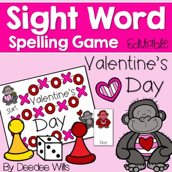Sight Word Spelling Game ~ Valentine's Day ~ Editable 1