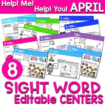 Sight Words Centers EDITABLE! APRIL 1