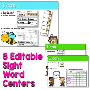 Sight Words Centers EDITABLE! APRIL 2