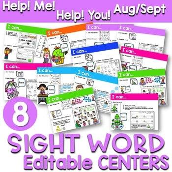 Sight Words Centers EDITABLE! AUG/SEPT 1