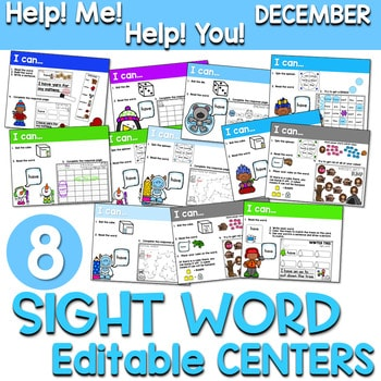 Sight Words Centers EDITABLE! DECEMBER 1