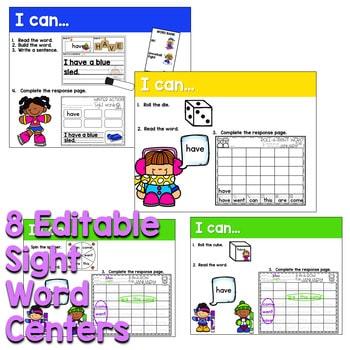 Sight Words Centers EDITABLE! JANUARY 2