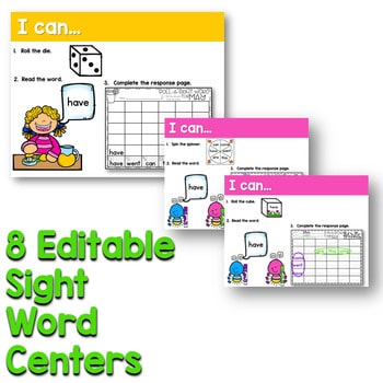 Sight Words Centers EDITABLE! MAY 3