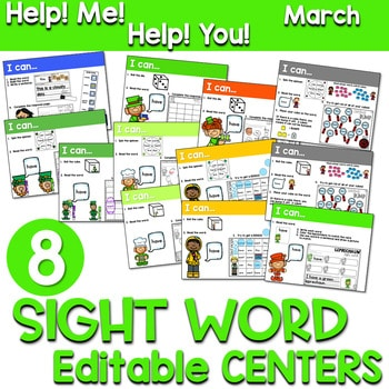 Sight Words Centers EDITABLE! March 1