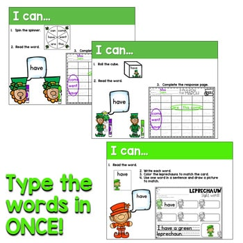 Sight Words Centers EDITABLE! March 2