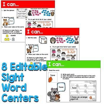 Sight Words Centers EDITABLE! NOVEMBER 2