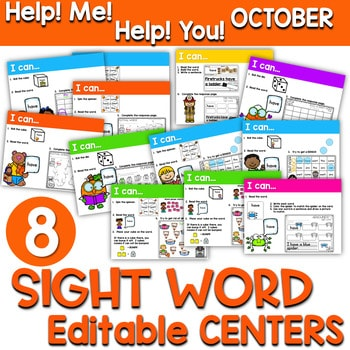 Sight Words Centers EDITABLE! OCTOBER 1