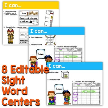 Sight Words Centers EDITABLE! OCTOBER 2