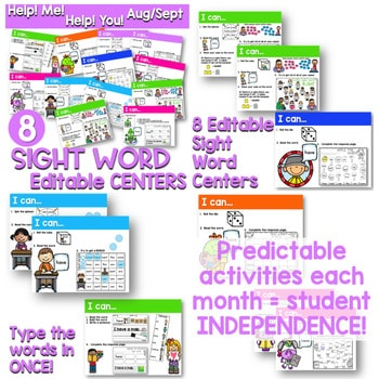 Sight Words Centers EDITABLE! 2