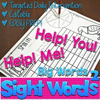 Sight Words Intervention 2 BIG WORDS ~ Editable! Help Me! Help You! 1