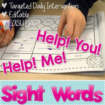 Sight Words intervention ~ Editable! Help Me! Help You! 1