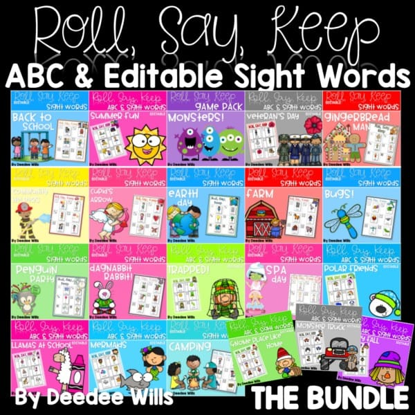 Roll, Say, Keep Editable Sight Word BUNDLE 1