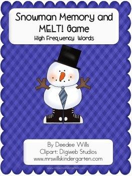 Snowman Memory Match Up and Melt Popcorn Words-editable 1