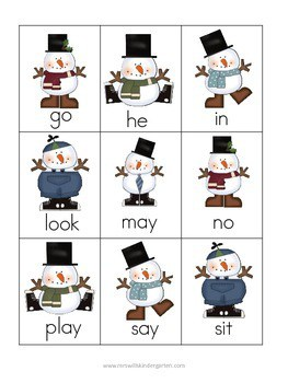 Snowman Memory Match Up and Melt Popcorn Words-editable 2