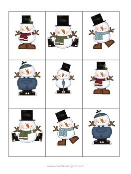 Snowman Memory Match Up and Melt Popcorn Words-editable 3