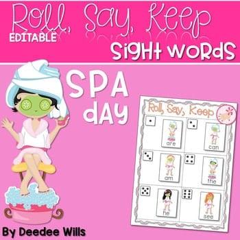 Spa Day Sight Words Roll, Say, Keep-Editable 1
