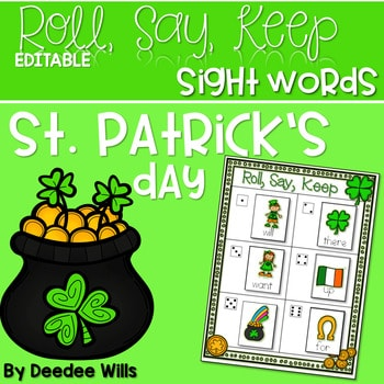 St. Paddy's Day Sight Words Roll, Say, Keep-Editable 1