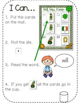 St. Paddy's Day Sight Words Roll, Say, Keep-Editable 2