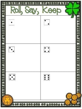 St. Paddy's Day Sight Words Roll, Say, Keep-Editable 3