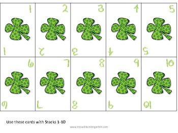 Stacks Game for St. Patrick's Day 1-10 and 11-20 2