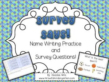 Survey Says! Name Writing Practice + Survey Graphing Fun!-Editable 1