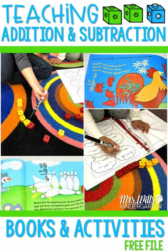 How to teach addition and subtraction in kindergarten. Students learn addition and subtraction with a variety of hands-on activities. Math workshop, student math practice, and kindergarten math games during center time! Addition and subtraction books and videos as well! FREE file too!