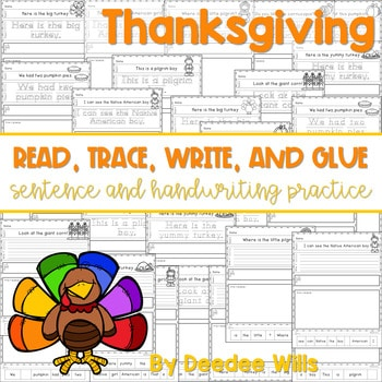 Thanksgiving Read, Trace, Glue, and Draw 1