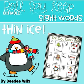 Thin Ice Beginning Sight Words Roll, Say, Keep-Editable 1