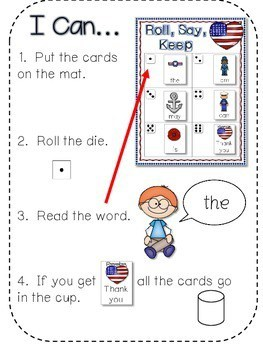 Veteran's Day ABC and Sight Words Roll, Say, Keep-Editable 2
