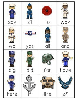 Veteran's Day ABC and Sight Words Roll, Say, Keep-Editable 3