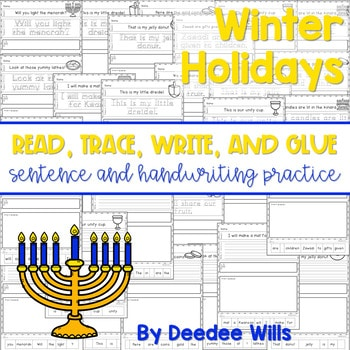 Winter Holidays Read, Trace, Glue, and Draw 1