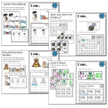 Winter Mash Up Literacy and Math Stations-CC 3
