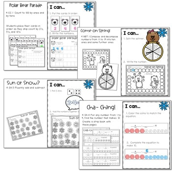 Winter Mash Up Literacy and Math Stations-CC 4