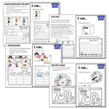 Winter Sports and Games! Math and Literacy Centers 3