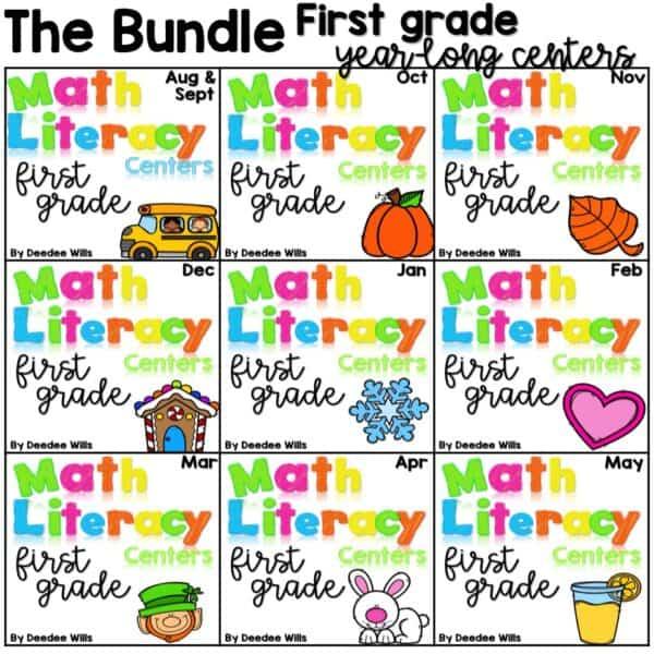 Math and Literacy Center Activities 1st Grade Growing BUNDLE 1