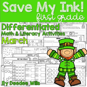 Save My INK: March 1st Grade Math and Literacy Activities 1