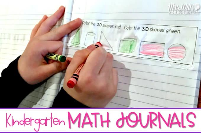 Journal prompts in kindergarten for daily math practice. Daily math notebook prompts for students to solve common core kindergarten math standards problems. Students work on math story problems through drawing and writing.