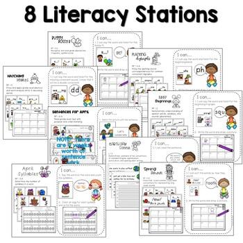 Math and Literacy Center Activities-First Grade April 2