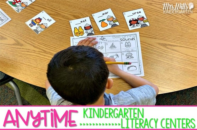 Kindergarten Anytime Literacy Centers. Non-thematic literacy center activities can be used at any time throughout the year. CVC words, rhyming, letter sounds, and more!