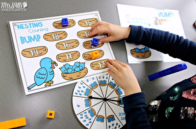 Bump Games for your math & literacy centers or small group. Teach these simple kindergarten classroom games and swap out the skills to have a predictable center or station all year long!