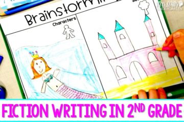 Fiction writing in second grade. Daily writing lesson plans, anchor charts, and resources to print and teach fictional writing in 2nd grade.