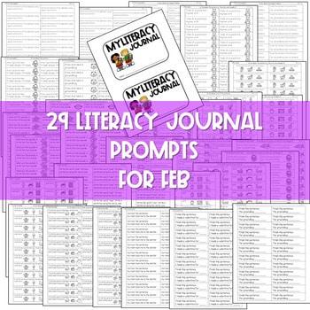 Literacy Journal Prompts for Kindergarten | Feb 2