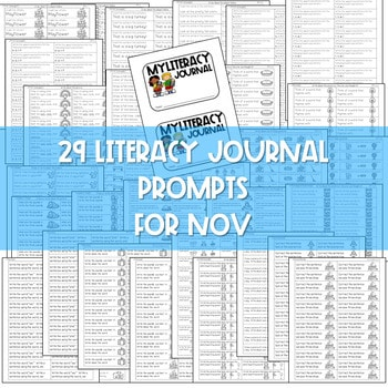 Literacy Journal Prompts for Kindergarten   Nov 2