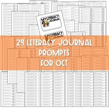 Literacy Journal Prompts for Kindergarten | Oct 2