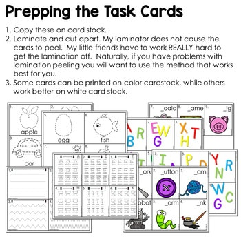 Task Cards for Kindergarten-Math and Literacy 3