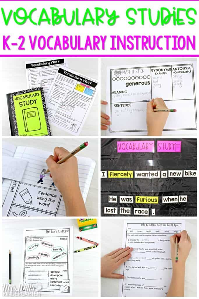 Vocabulary instruction. Quick and easy lesson plans to teach vocabulary through authentic texts for kindergarten, first, and second grade. Students develop reading comprehension and vocabulary knowledge with these engaging activities. #vocabularyinstruction #vocabularystudy #engagingreaders