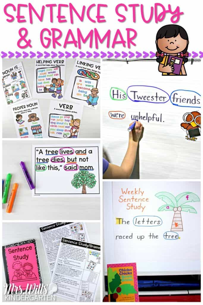 Sentence study and grammar activities for kindergarten, first, and second grade. Weekly lesson plans using authentic texts. With just 10 minutes a day, you can practice conventions of print and grammar. #sentencestudy #grammar #engagingreaders