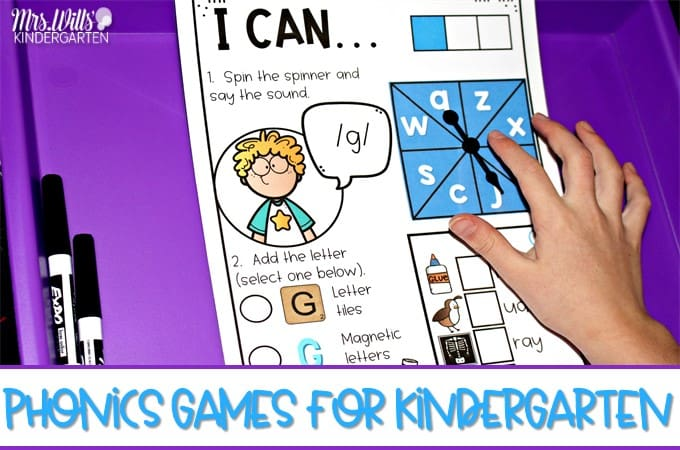 Classroom phonics games to support beginning and ending sounds, blends, digraphs, CVC & CVCe words. Your kindergarten students will love racing each other to complete their game card in these fun phonics activities.